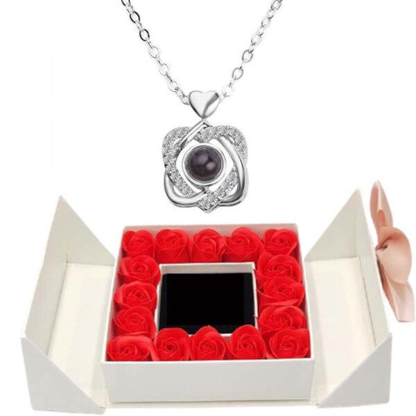 Box Roses Éternelles - box rose éternelle - collier je t'aime 100 langues