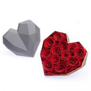 Coeur en Rose Rouge - Boite rose éternelle rouge
