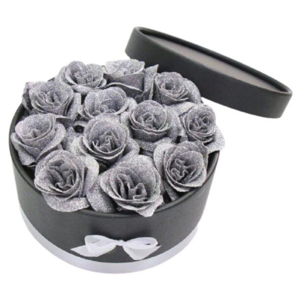 Coffret Fleur Éternelle - Boite rose éternelle grise