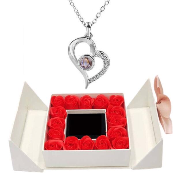 Fleur Éternelle Box - box rose éternelle - collier je t'aime 100 langues