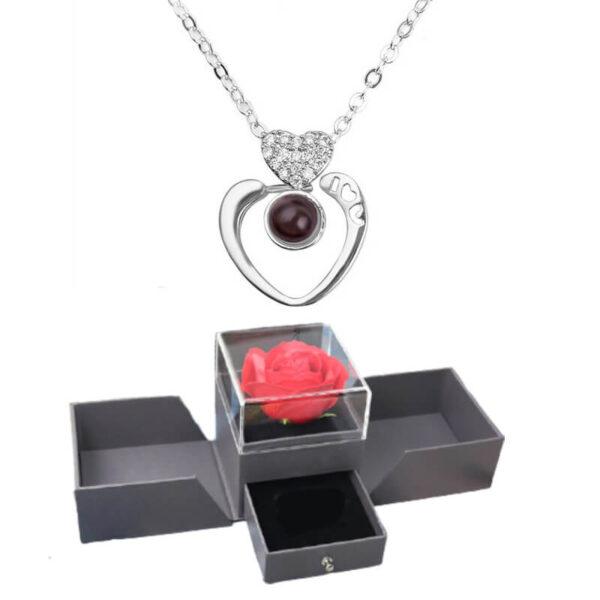 Flower Box Rose - box rose éternelle - collier je t'aime 100 langues