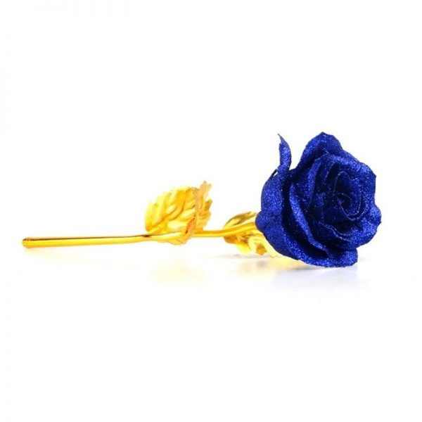 La rose Bleu - Rose éternelle or
