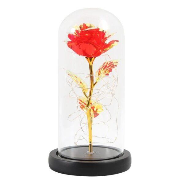 La rose r lumineuse sous cloche rouge - Rose éternelle Or