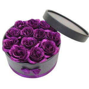 Rose dans une boite - Boite rose éternelle violette