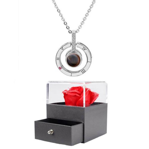 Rose éternelle avec Bijoux - box rose éternelle - collier je t'aime 100 langues