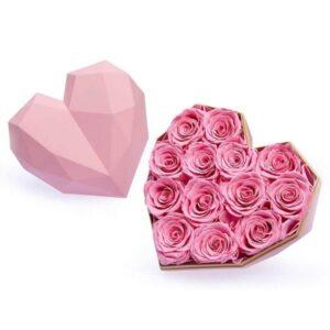 Rose éternelle boite coeur - boite rose éternelle rose - boite rose éternelle rose