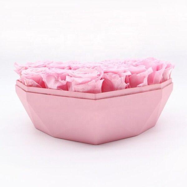 Rose éternelle boite coeur - boite rose éternelle rose