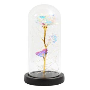 Rose éternelle or sous cloche cristal - Rose éternelle en or