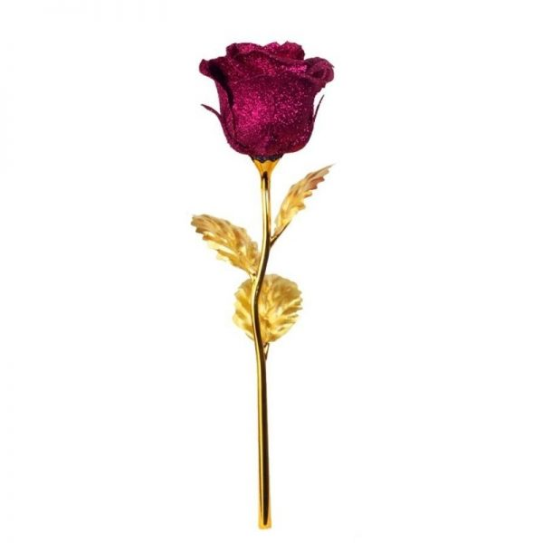 Rose or éternelle violette - Rose éternelle or