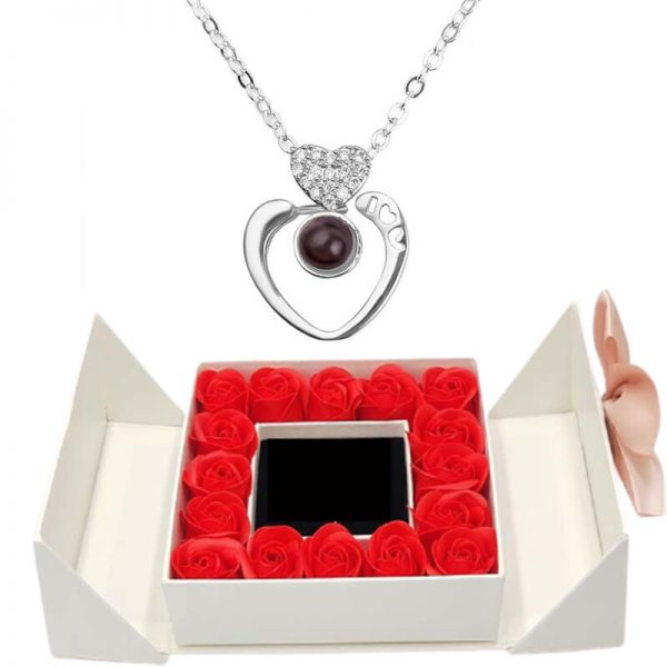 Roses Éternelles Box - box rose éternelle - collier je t'aime 100 langues